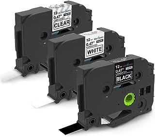 Wonfoucs Label Maker Tape 12mm 0.47 Laminated White/Clear/Black TZ TZe Tapes Replacement for Brother PTouch PT-1890, PT-D210, PT-D200, 3-Pack TZe-131/TZe-231/TZe-335