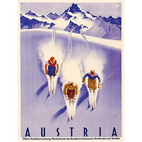 Wee Blue Coo Travel Tourism Winter Sport Austria Ski Snow Alps Art Print Poster Wall Decor 12X16 Inch
