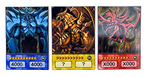 Orica Karten-Set: 3 Ägyptische Götterkarten - Obelisk, Slifer, Ra Common Karten im Yugioh! Anime Design | inkl. 100 Arkero-G Small Card Sleeves