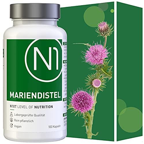 N1 MARIENDISTEL Kapseln 100 St - Silymarin Monopräparat für die tägliche & dauerhafte Anwendung - Laborgeprüfte Qualität – Rein pflanzlich - Ohne Allergene – Vegan, laktosefrei und glutenfrei