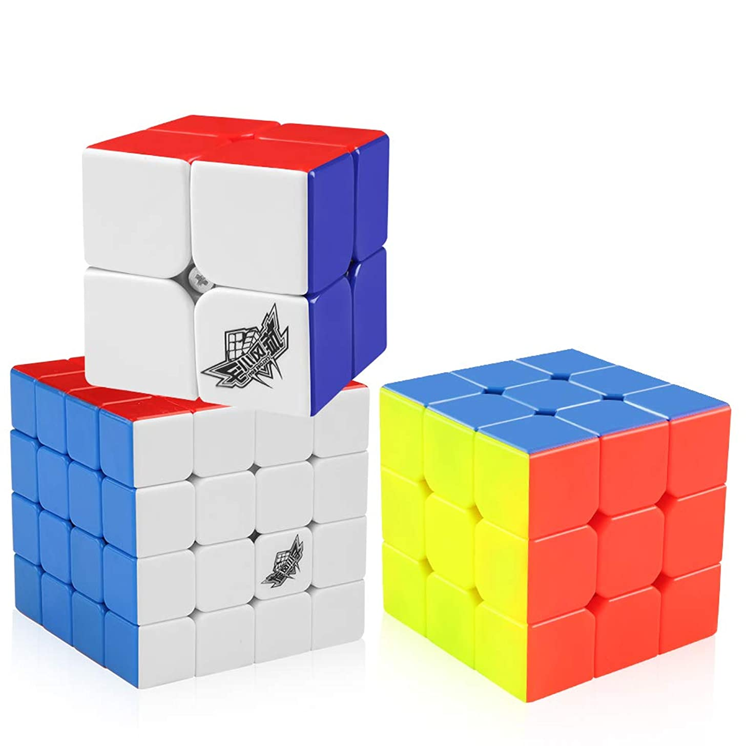 D-FantiX Cyclone Boys 2x2 3x3 4x4 Speed Cube Set, Stickerless Magic Cube Puzzles Toy Pack of 3