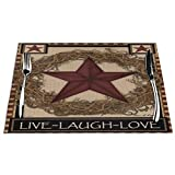 KiuLoam Country Primitive Barn Star Placemats Set of 4,PVC Placemat for Kitchen Table Heat-resistand Woven Vinyl Hard Table Mats 12' x 18'