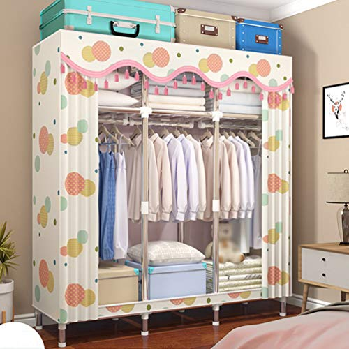 GHKJ 67-Inch Double Wardrobe, Assembled Fabric Wardrobe, Heightened Bottom Design, Waterproof and Moisture-Proof, Suitable for Home Use,Fantasy Space Style
