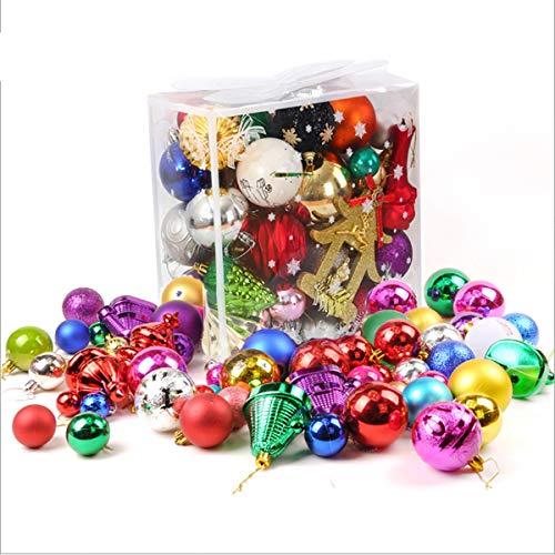 Binjor 40Pcs Palline Albero di Natale Multicolore Brillanti in plastica Ornamento Party Supplies Palle di Natale Glitter appesi Deco Particolari