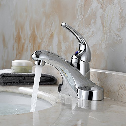 PARLOS Single Handle Centerset Bathroom Sink Faucet with Metal Drain Assembly and cUPC Faucet Supply Lines, Lead-Free , Chrome 13433