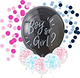 Luftballon Boy or Girl Globo de helio XXL negro con relleno de confeti rosa o azul, sorpresa para Baby Shower Gender Reveal Party + 10 globos Its a Boy + 10 globos It's a Girl
