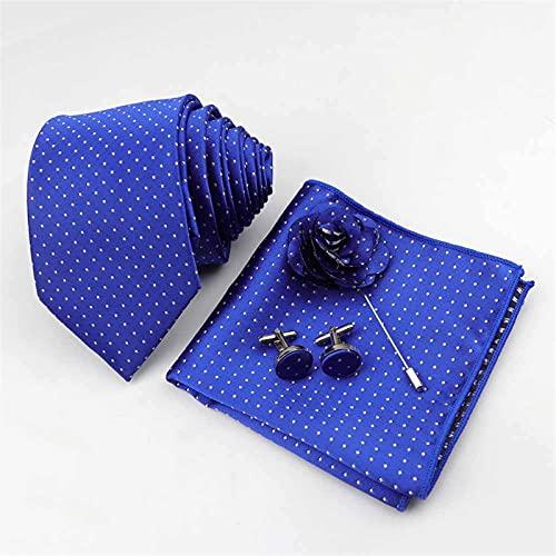 ZXJJY Men's Tie Handkerchief Cufflinks Corsage Set 7cm Polyester Striped Narrow Ties 4 pcs Suits (Color : 22)