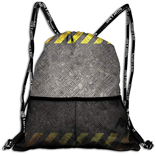 AZXGGV Drawstring Backpack Rucksack Shoulder Bags Gym Bag Sport Bag,Abstract Background with Caution Tape Inspired Frame Borders