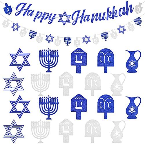 22 Pieces Hanukkah Banner Glitter Cutout Happy Hanukkah Banner Hanukkah Party Decoration Supplies for Home Festival Party