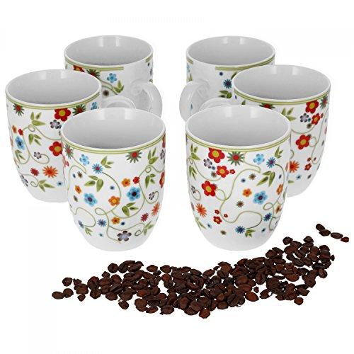 Van Well Vario 6er Kaffeetassen-Set I Porzellan-Tasse groß - in div. fröhlichen Farben I pflegeleichtes Tassen-Set - für Spülmaschine & Mikrowelle geeignet I 300 ml Kaffeebecher Flowers 6 Stück