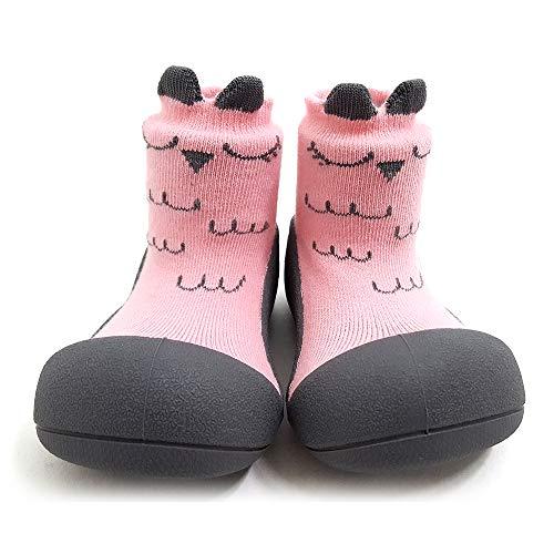 [Attipas] アティパス ベビーシューズ [ キューティ ] L(12.5cm) 2.ピンク/かわいいベビーシューズ 滑り止め 公園遊び 出産祝い プレゼント あんよの練習 保育園靴 ソックスシューズ プレシューズ 室内履き 女の子 男の子