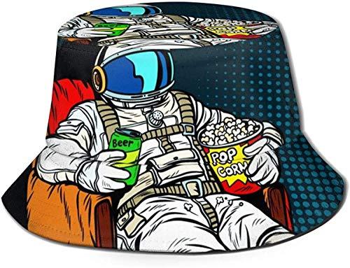 Hut Astronaut das Publikum mit Bier und Popcorn sitzend in einem Stuhl Sonne Fischerhut Outdoor Hut UV Sonnenschutz Hut Faltbar Leicht Atmungsaktiv Reise Cap Schwarz