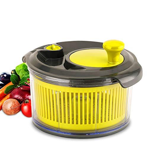 Royalford Mini Salad Spinner | Healthy Eating Salad Spinner & Dresser for Lettuce Herbs Vegetables & Fruits| Multipurpose, Spin-Knob Design, Secure Clip Lid | Spinner for Drying Dressing Salads | 1.5L