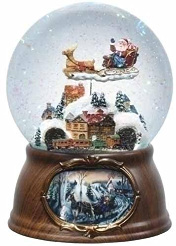 6.5' Musical Rotating Santa Claus with Train Christmas Snow Globe Glitterdome