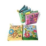 libri neonati,il Mio Primo Libro attività-Giocattolo Neonat Libro stoffa morbido per bambino(4PCS)
