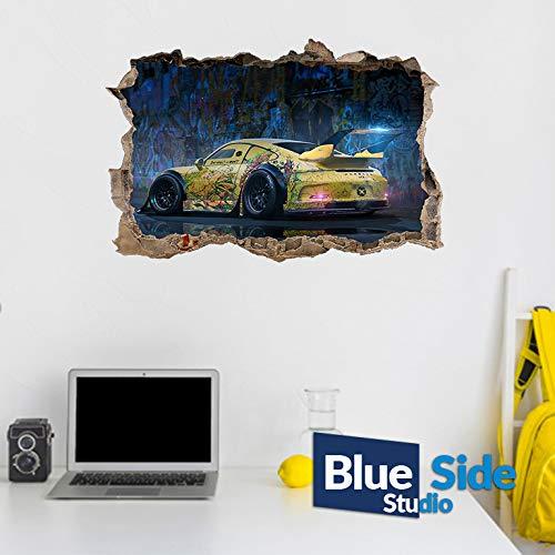 Wandtattoo, Motiv: Porsche 911 Sportwagen, 3D-Loch in der Wand, 65cm x 43cm