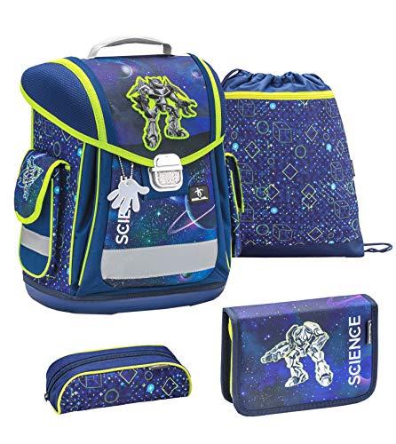Belmil ergonomischer Schulranzen Groß Set 4-teilig für Jungen 1, 2, 3, Klasse/Leicht: 950-1000 g/Roboter, Robot/Blau neon gelb, Blue neon Green (404-5 Science Tech)