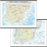 Penisola Iberica Carta Murale Scolastica Bifacciale [Fisica/Politica] [132x99 cm] Belletti