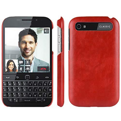 HualuBro Handyhülle für BlackBerry Classic Hülle, Retro PU Leder Ultra Slim Stoßfest Bumper Hülle Cover Schutzhülle Lederhülle Backcover für BlackBerry Classic Tasche (Rot)