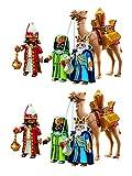 Outletdelocio. Playmobil Navidad 5589. Pack 2 Conjuntos 3 Reyes Magos con Camello y Regalos. 59 Piezas Cada Conjunto