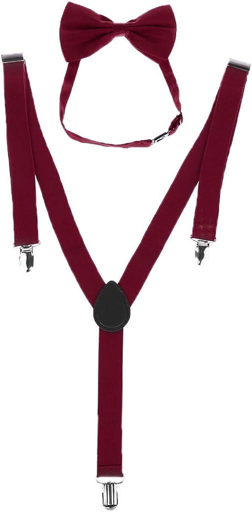 YOUSIKE Sling Vest, Unisex Adjustable Y-Back Suspenders Bow Tie Set Clip-On Braces Elastic Wedding