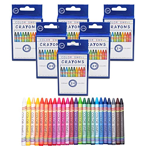 Color Swell Crayons Bulk 6 Packs of 24 Count Vibrant Colors Teacher Quality Durable for Families Class Party Favors