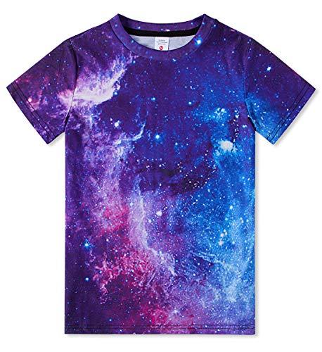 Jubestar T-Shirts for Kids 3D Graphic Print Galaxy Star Short Sleeve Tee Shirts 6-8 Years