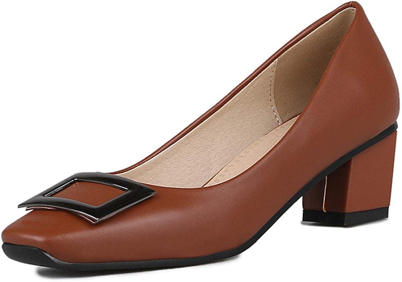 Bonrise Women's Rhinestone Chunky Block Mid Heel Pump Square Toe Office Slip-On Work Office Dress shoes