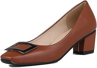 Veveca Women Square Toe Office Slip-On Work Office Dress Shoes Rhinestone Chunky Block Mid Heel Pump