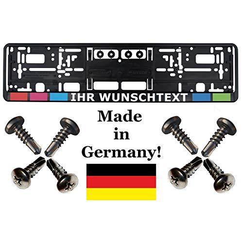 1 Kennzeichenhalter mit Wunschtext Werbung bedruckt (keine Folie) mit Schrauben (!!! Nicht für Österreich geeignet !!!)