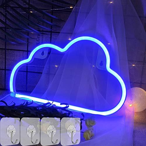 YIVIYAR LED Wolke Leuchtreklamen Schild Neonlicht Wand Dekor Licht, Hängende USB/Batterie LED Cloud Neon Sign Neon Lampe Zimmer Deko für Weihnachten,Geburtstag,Wohnzimmer,Hochzeitsfest(Blue Cloud)