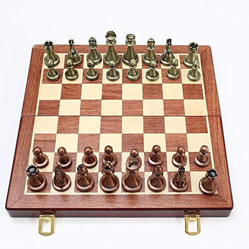 MSG ZY Juego de ajedrez de Bronce metálico Tablero de ajedrez Plegable, Juego de Rompecabezas, Regalos de Juegos de Mesa para niños y Adultos y Papel de Regalo para Personas Mayores