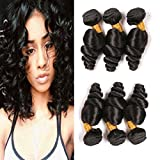 Loose Wave 3 Bundles 14 16 18 Inch Unprocessed 9A Brazilian Virgin Human Hair Bundles On Sale Clearance Wet And Wavy Real Human Hair Weave Extension For Women Natural Black
