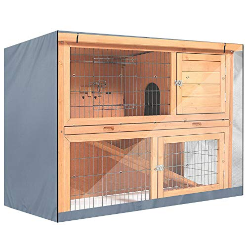 Sunsbell 4FT Kaninchenstall Cover Double Hutch, Universal Waterproof Dustcover Cage für den Winter für Bunny