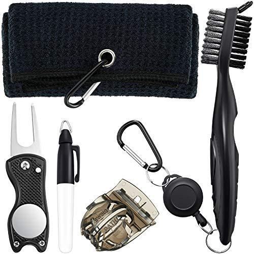 Gejoy 5 Stücke Golf Reinigungswerkzeug Kit inklusiv Mikrofaser Waffelmuster Golf Handtuch, Golf Bürste, Golfball Liner, Golfball Markierungsstift und Golf Divot Werkzeug für Golf Zubehör
