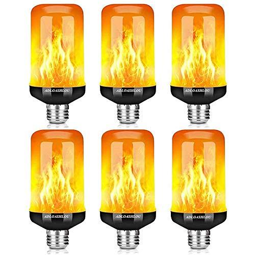ADLOASHLOU E27 Flammen Glühbirne, 4 Beleuchtung Lampe Flackernde Effekt Licht 5W 99LED Außenleuchte Flackerlicht für Haus Garten Bar Party Hochzeit Restaurant Valentinstag Deko 6pcs