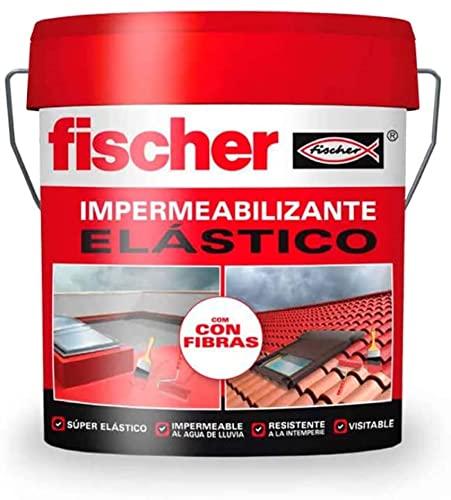 fischer - Pintura impermeabilizante (cubo 1kg) Gris con fibras, resistente al agua y exteriores