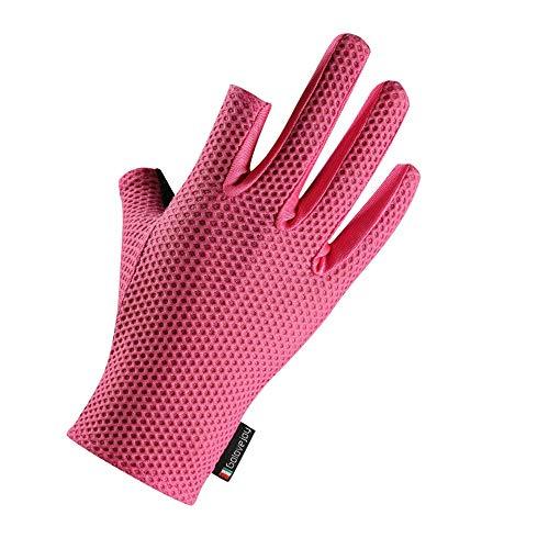 Liaiqing Dew Zwei Finger-EIS-Silk Fishing Sunscreen Handschuhe männliche und weibliche Reiten Fische Kälte Sense Hohe Elastizität atmungsaktiv Anti-Rutsch-Sommer-dünne Handschuhe (Color : Pink)