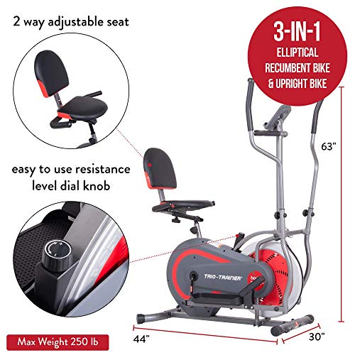 Body Power 3-in-1 Exercise Machine, Trio Trainer, Elliptical and Upright/Recumbent Bike BRT5088 gray, silver, red