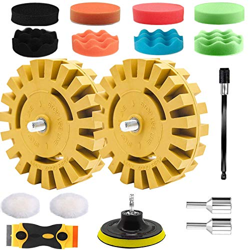 16Pcs Eraser Wheel Decal Remover, VONDERSO 4 Inch Stripe Rubber Wheel with Drill Adapter for Removing Pinstripes, Stickers, Adhesive Vinyl Decals from Cars, Boat, Graphics Removal Polishing Tools