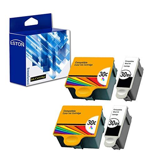 ESTON Compatible Replacement for Kodak 30 xl Ink Printer Cartridges 4 Pack (Black Tri-color) Combo Set for ESP 310 C315 2150 2170 Hero 3.1 5.1