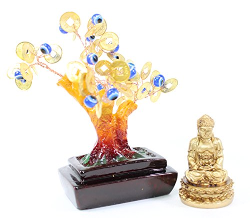 We pay your sales tax Set of 2~Feng Shui Gold Buddha Blue Evil Eye Money Tree Lucky Home Decor Gift