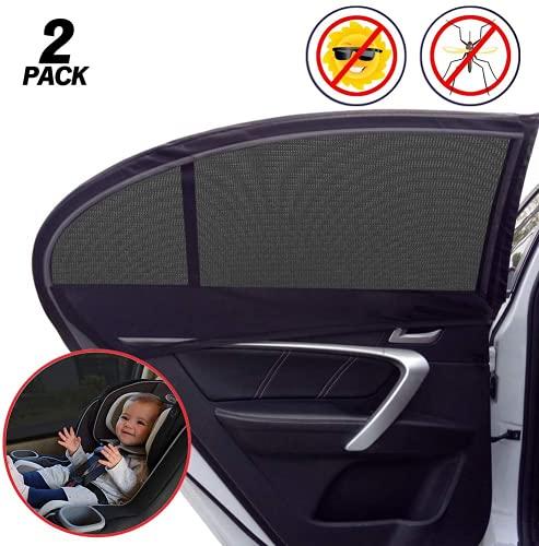 LYUNIT Tendine Parasole Auto Bambini - Protezione Solare 99% dai Raggi UV, 2 Pezzi Tenda Parasole Universale per Finestrino Laterale, Facile da Installare,...