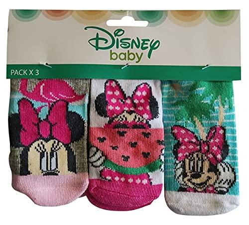Minnie Maus Baby Socken Strümpfe 3er Pack für Babys, Mädchen Jungen 0 bis 12 Monate bunt (Rosa, Pink, Türkis, Grau, 0-6)
