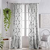 Peri Home Chenille Lattice Sheer Back Tab Single Curtain Panel, 95-inch, Grey