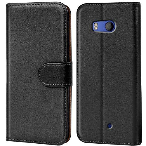 Verco HTC U11 Life Hülle, Handyhülle für HTC U11 Life Tasche PU Leder Flip Hülle Brieftasche - Schwarz