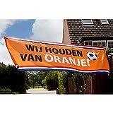 Boland 61788 - Dekorationsbanner Wij houden van Oranje, 1 Stück, Größe 74 x 220 cm, Wir lieben Orange, Niederlande, Fußball, Polyester, Banner, Wanddekoration, Mottoparty, Trikolore
