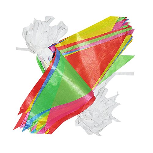 Veewon Multicolor Nylon Bunting 38M Banner Pennant Flag Garlands Fabric Triangle Flags Vintage Indoor/ Outdoor Party Decoration