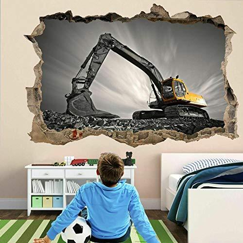 Excavadora Equipo De Construcción Máquina Arte De La Pared Pegatinas Mural Calcomanía Niños Ek6 Vinilos 3D Pegatinas De Pared 70x110cm
