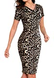 Eledobby Leopard Print Bodycon Dress for Slim Ladies Women's Pencil Dress with Short Sleeve Midi Dresses Colorblock V Neck Clothes for Office Work Black S